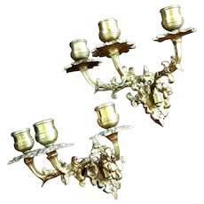 Antique Pair Of French Gilt Bronze Three Arm Candle Sconces