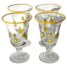 Set Of Four Hand-Blown Art Glass Lemonade Glasses