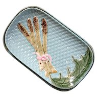 Vintage Majolica Pottery Asparagus Plate With Liner