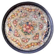 Early 19th Century Large Round Pierced Heart Gallery Tole Tray