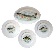 Vintage French Couleuvre Limoges Porcelain Fish Platter And Plates