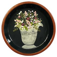 Signed Penn Woods Redware Pottery Floral Dish