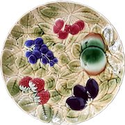 French Sarreguemines Majolica Pottery Fruit Tray