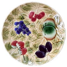 French Sarreguemines Majolica Pottery Fruit Tray