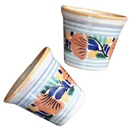 Pair Of Vintage Signed Mexican Pottery Flower Pots