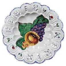 Vintage Set Of Six Italian Majolica Fruit Plates For B. Altman & Co
