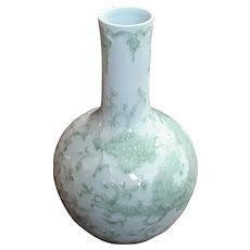 Chinese Celadon Porcelain Dragon Vase On Rosewood Stand