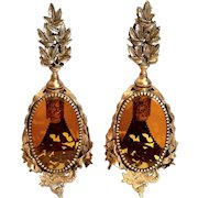 Vintage Pair Of Gilt Metal And Amber Glass Perfume Bottles
