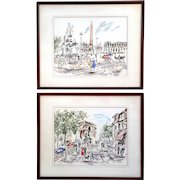 Pair Of Mid-Century French Impressionist Street Scenes By P. Renaud