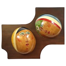 Pair Of Artist Signed Mexican Coconut Masks
