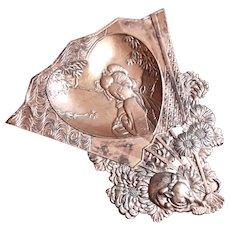 Early Vintage Gilt Metal Japanese Geisha Heart Pin Tray