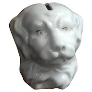 Rare Antique Porcelain Dog Head Bank