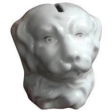 Rare Antique Porcelain Dog Head Bank