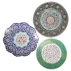 Set Of Three Vintage Persian Enamel Round Trays
