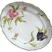 Vintage Italian Faience Pottery Rose And Tulip Platter