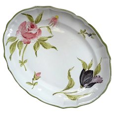Vintage Italian Faience Pottery Rose And Tulip Platter