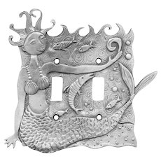 Leandra Drumm Pewter Mermaid Double Switch Plate Cover