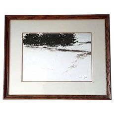 Signed And Titled Tonalist Watercolor Winter Pines By David Adams