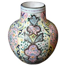 Webb Moroccan Pattern Orientalist Persian Enameled Art Glass Vase