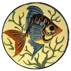 Vintage Spanish Majolica Glazed Redware Pottery Fish Plate