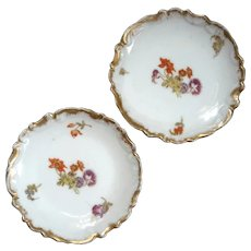 Antique Pair Of French Limoges Porcelain Butter Pats