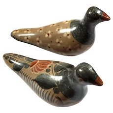 Vintage Signed Pair Of Mexican Tonala Pottery Doves