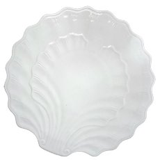 Vintage French White Porcelain Shell Hot Plate
