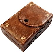 Early Vintage Italian Leather Two Tier Box
