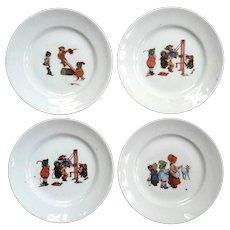 Set Of Four Early Vintage Porcelain Child's Plates