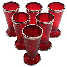 Set Of Six Mid-Century Vintage Ruby Red Shot Glasses