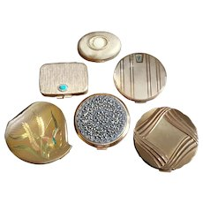 Vintage Lot Of Six Gold Metal Compacts