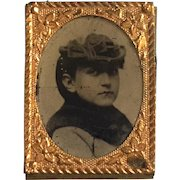 Tiny 19th Century Tintype Of A Woman
