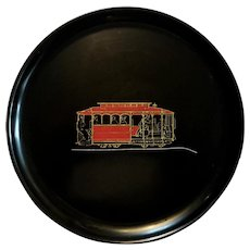 Vintage Couroc Of Monterey San Francisco Cable Car Round Tray