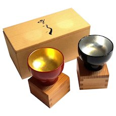 Boxed Set Of Two Japanese Lacquered Tea Cups