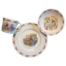 Vintage Royal Doulton Bunnykins Porcelain Child's Plate, Bowl And Mug