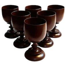 Set Of Six Hand-Turned Wood Stemmed Goblets
