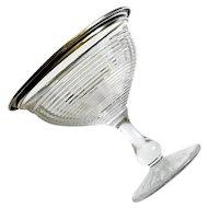 Mid-Century Vintage Sterling Silver Rimmed Glass Pedestal Bowl