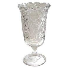 Early American Pattern Glass Triple Mold Celery Vase