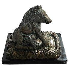 Vintage Italian Bronze Boar On Marble Base