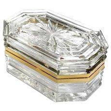 Vintage Crystal Jewel Casket With Gilt Metal Mounts
