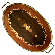 Large Vintage Italian Inlaid Wood Marquetry Vanity Tray