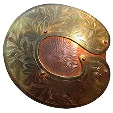 Vintage Hand-Crafted Brass And Copper Belt Buckle