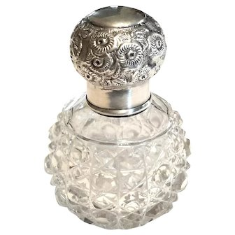 English Cut Crystal And Sterling Silver Perfume Bottle