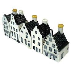 Set Of Five Blue And White KLM Delft Porcelain Houses