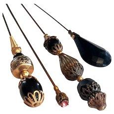 Set Of Four Antique Hat Pins