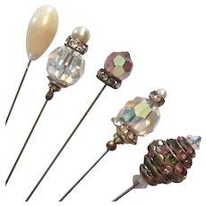 Set Of Five Vintage Hat Pins