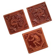 Set Of Three Moravian Harvest Tiles, 1985