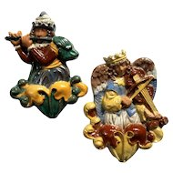 Pair Of Moravian Pottery Tiles Of Angels