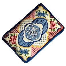 Vintage Velvet Backed Needlepoint Pillow
