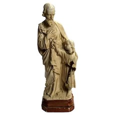 Antique French Plaster Statue Of Joseph And Jesus